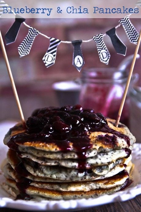 Blueberry Chia Pancakes:  Serves 2 Prep time: 10 minutes, Cook time: 25 min; Ingredients: •1 cup flour •3 tsp baking powder •pinch of salt •1 1/3 cup unsweetened almond milk •1 egg •2 Tbsp chia seeds  •2 tsp vanilla  •1/2 cup of blueberries plus 1 cup of blueberries for sauce •Oil for frying •2 Tbsp honey