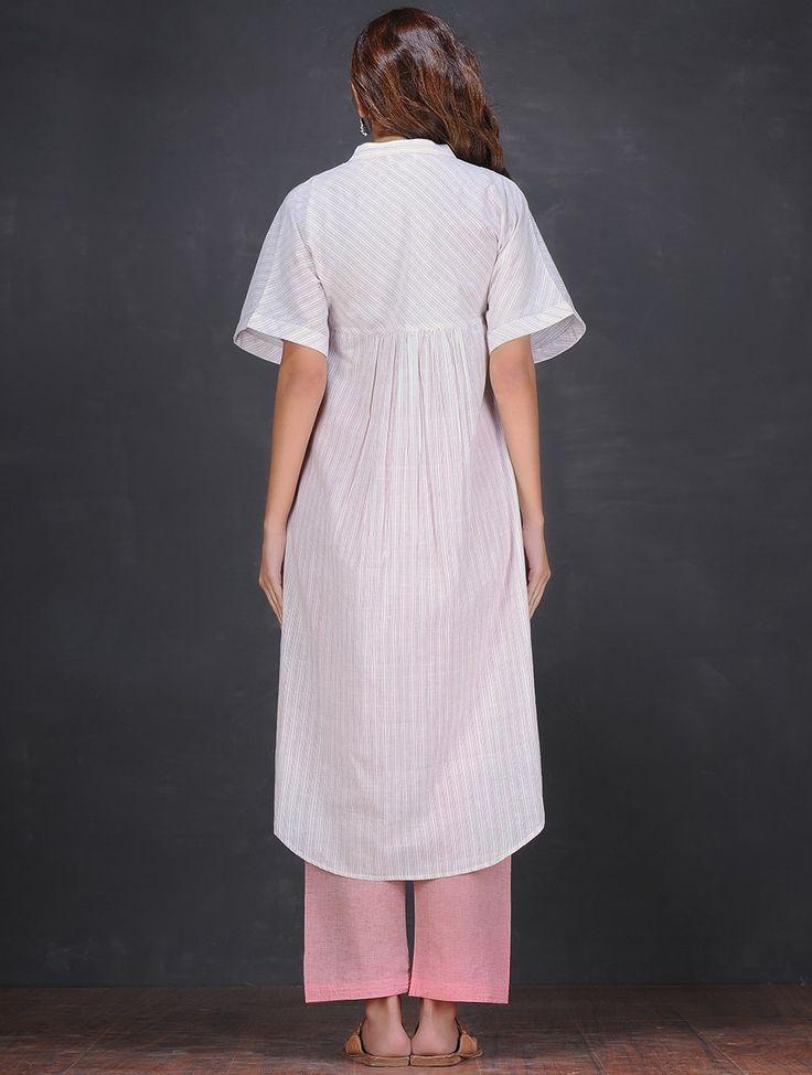 Buy Ivory-Pink Mandarin Collar Handloom Cotton Kurta with Asymmetrical Hem by Jaypore Online at Jaypore.com