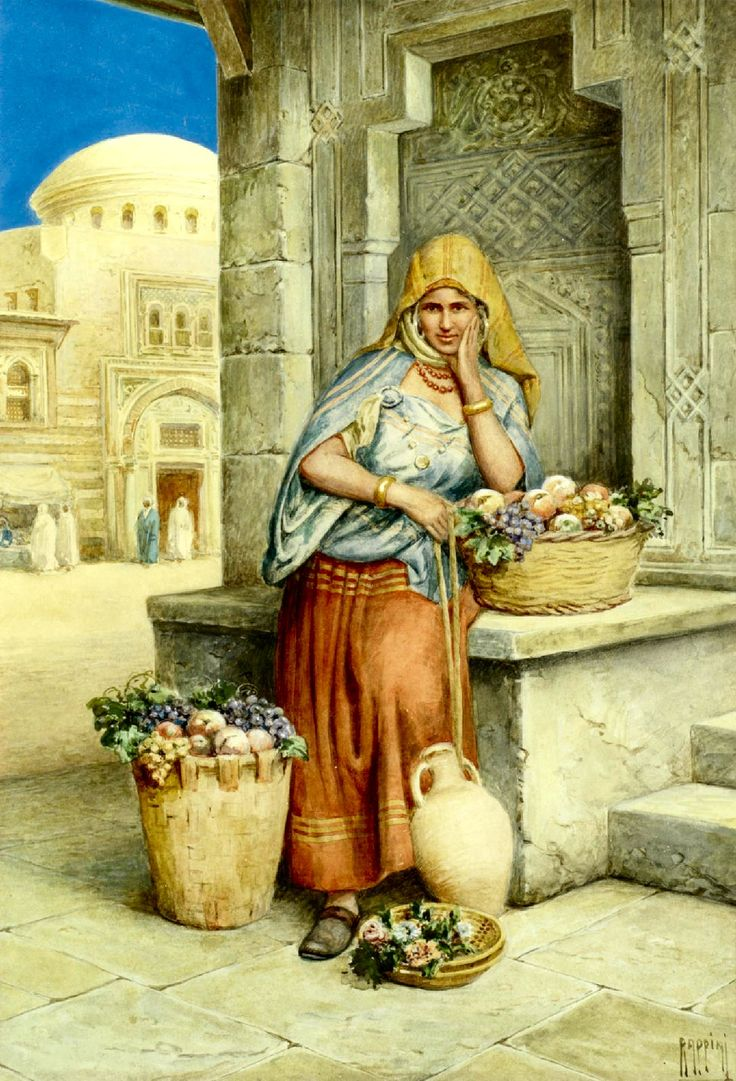 The antique dealer, and The fruit seller, a pair - by Vittorio Rappini