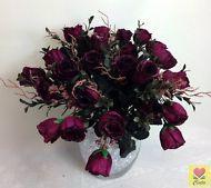 2 X  Dark Pink Artificial Silk Rose Roses Flower Bushes/ Wedding Bouquet Flowers