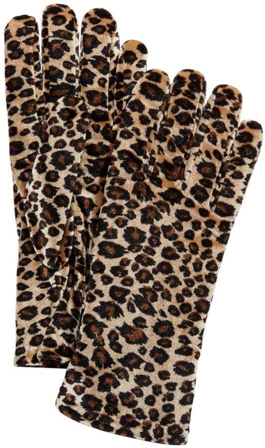 Cejon Leopard print Velvet Gloves| animal print ladies gloves