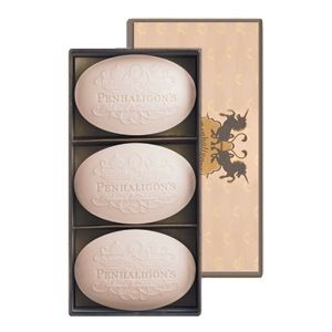 Penhaligon's: Artemisia Soap:  (Box of 3 x 100g) - Penhaligon's vegetable based soaps are triple-milled for superior quality and individually wrapped to conserve the precious fragrance. Producing a rich lather their gentle cleansing action leaves skin cleansed and soft.Created in 2002, Artemisia is both floral and fruity with a beautifully sensual powdery dry down. Caramel soft, sweet, powdery and silky. A tumble of green apples and nectarines washed with jasmine tea and sprinkled with a…