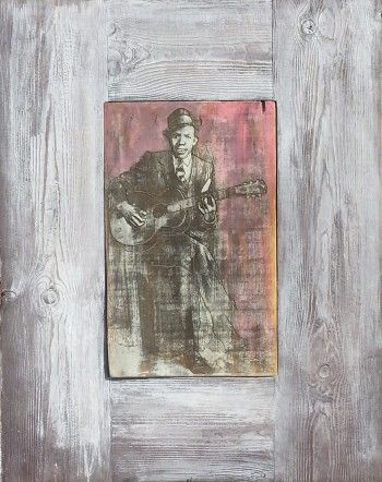 Robert Johnson - Portraits of The Blues Depicted On #Reclaimed #Wood #Original #Painting #Blues #Music #Painting  #Pink #Yellow #Grey #Brown theblueswoods@gmail.com