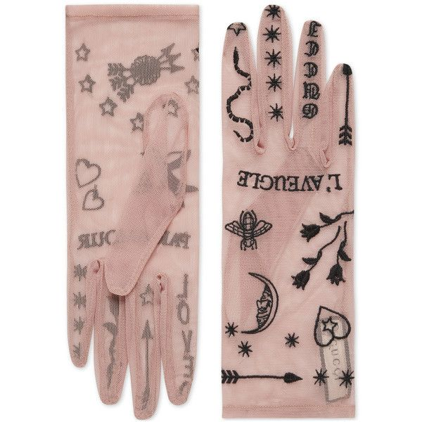 a6f047d4fcc Gucci Tulle Gloves With Symbols Embroidery (8.400 UYU) ❤ liked on Polyvore  featuring accessories