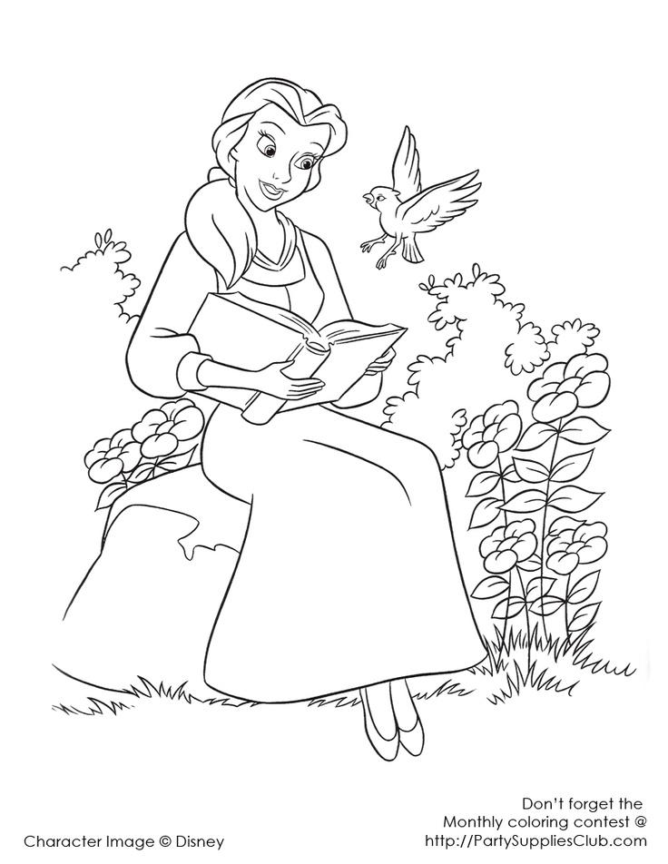 belle reading in garden disney princess coloring page