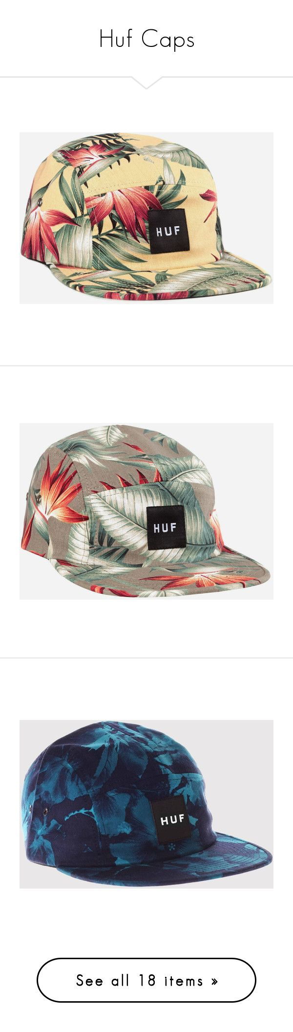 """""""Huf Caps"""" by janettetang ❤ liked on Polyvore featuring men's fashion, men's accessories, men's hats, hats, yellow, mens summer hats, mens 5 panel hat, linh vu, olive and electric blue"""