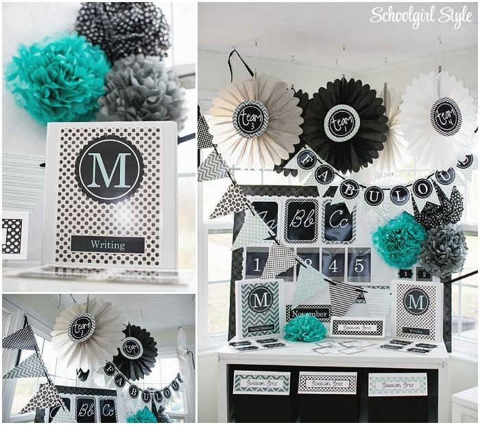 Modern Math Classroom ~ Gorgeous turquoise black and gray color scheme classroom