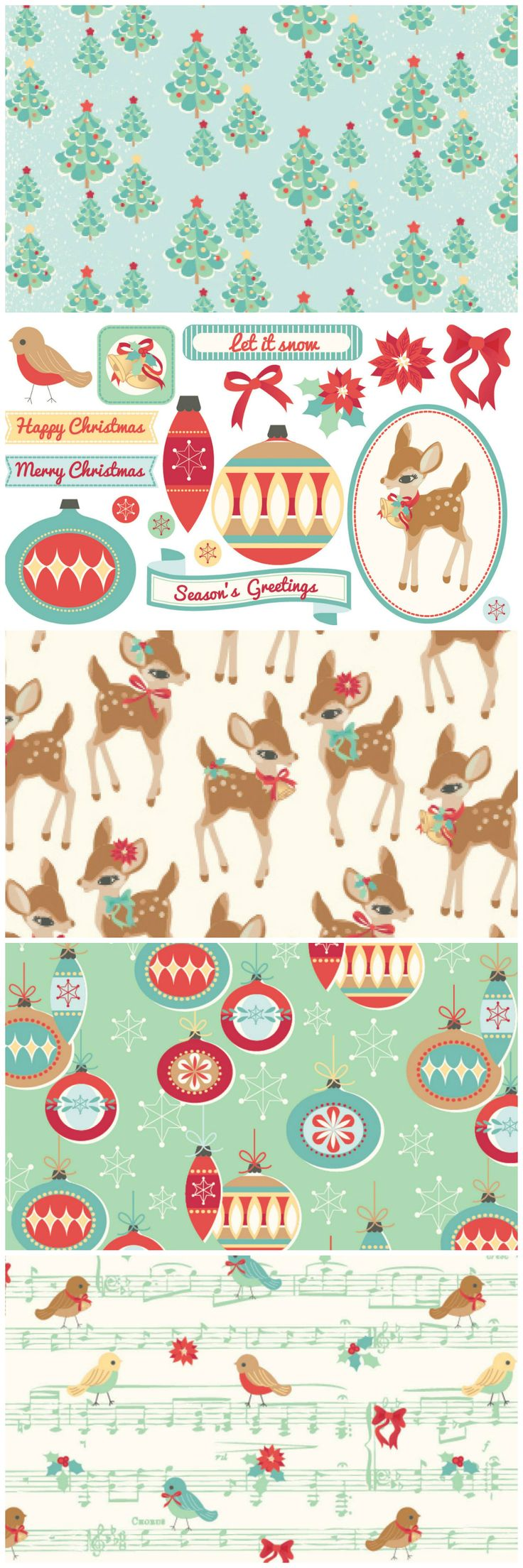 Make beautiful retro Christmas cards using our free digital papers.