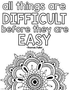 Growth Mindset Coloring Pages by To the Square Inch- Kate Bing Coners | Teachers Pay Teachers