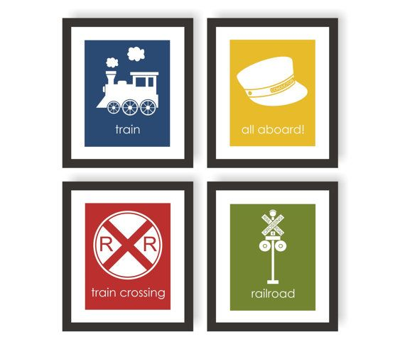 Train Nursery Art, Railroad Art, All Aboard, Railroad Crossing, Train Conductor, Boys Bedroom, Toddler Room Decor, Children Decor