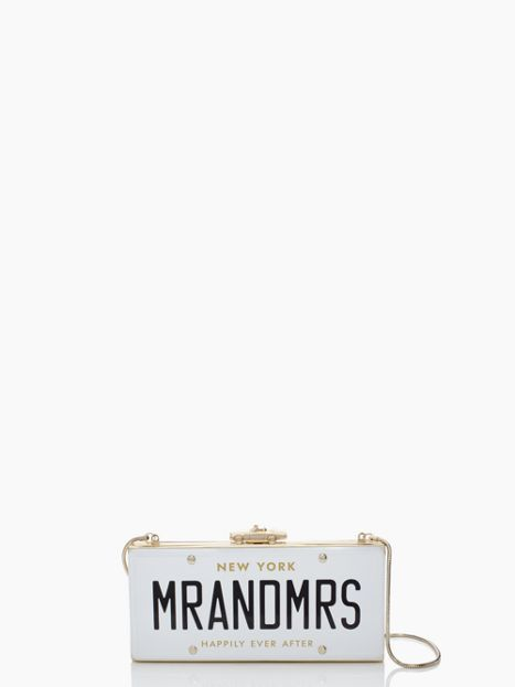 Mr and Mrs License Plate Clutch