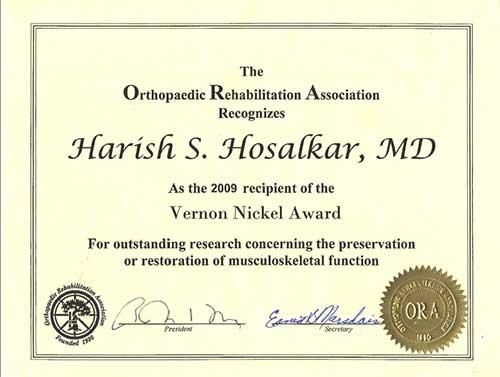 Dr. Harish Hosalkar is an orthopedic surgeon who has won a number of awards. Among Dr. Harish Hosalkar's awards are the Scientific Exhibit Special Recognition Award from AAOS in 2013. In addition, Dr. Harish Hosalkar has received awards from the University of Pennsylvania, as well as organizations like POSNA and OREF, both of which are very highly regarded orthopedic associations.