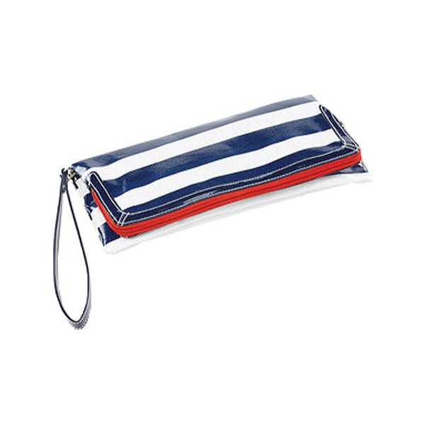 Women's Clava Wellie Clutch - Navy/White Stripe Leather Goods ($60) ❤ liked on Polyvore featuring bags, handbags, clutches, white purse, navy leather handbag, genuine leather handbags, white leather purse and navy blue purse