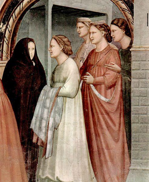 """Meeting At The Golden Gate"" (Detail) -- 1304-06 -- Giotto di Bondone -- Italian -- Fresco -- Capella degli Scrovegni Arena -- Padua, Italy (belt worn high)"