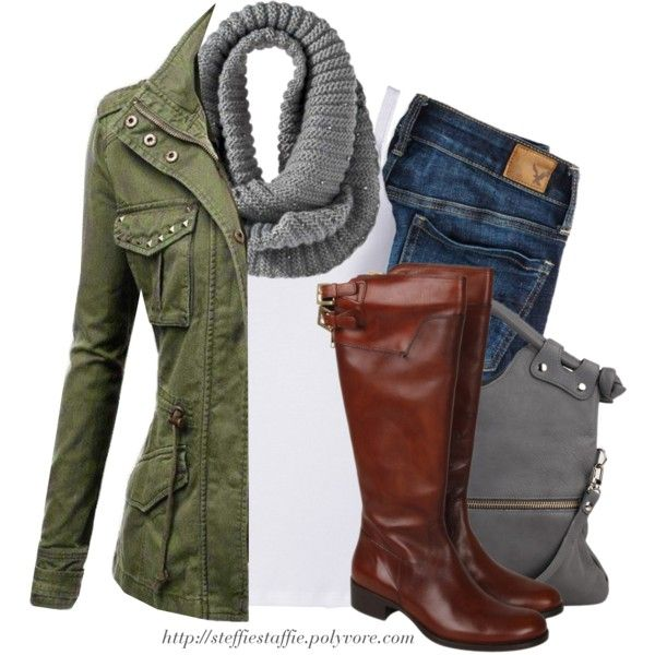 """Army green jacket, Gray knit scarf & Knee boots"" by steffiestaffie on Polyvore"