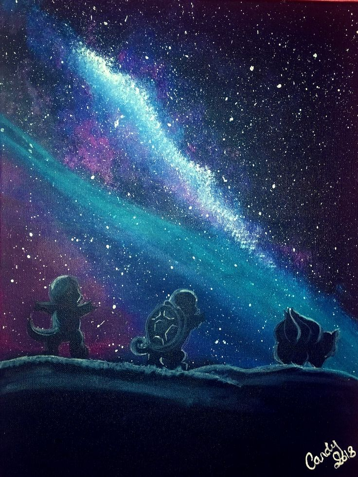 An original painting of the three original starter pokemon looking out at the Galaxy! Great for a gift, a nursery decoration, or just to spoil yourself! If you would like to purchase this one of a kind acrylic painting please click the link on this pin!  https://www.etsy.com/au/listing/595858191/pokemon-galaxy-stars-original-acrylic?ref=shop_home_active_1