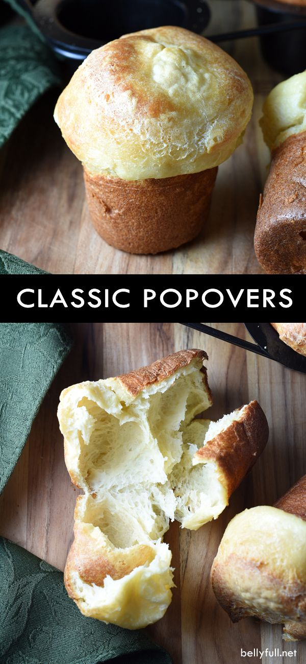 These Popovers (similar to Yorkshire Pudding) have a crispy exterior and hollow interior. Light, buttery, and fabulous. There's nothing else like them!