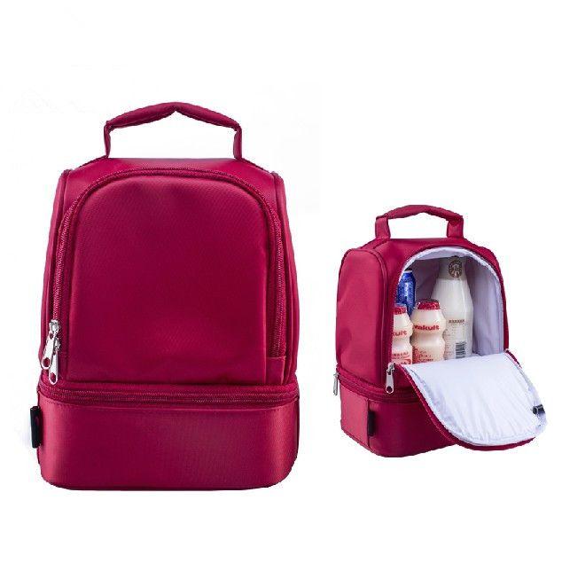 Nuovo disegno caldo di spessore con isolamento termico scatole sacchetto di nylon pranzo sacchetti pranzo tote bag con cerniera cooler isolamento lunch box rosso borsa