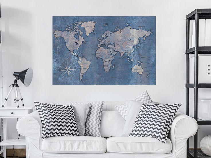 Obraz mapa świata 120x80 cm k-A-0059-p-c - artgeist - Wydruki na płótnie
