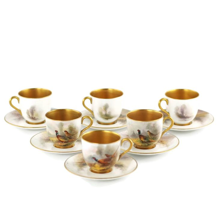 Royal Worcester James Stinton Cased Coffee Set with Enameled Sterling Spoons 2