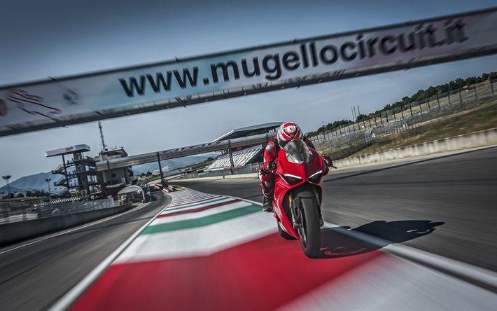 Download wallpapers 4k, Ducati Panigale V4 S, rider, raceway, 2018 bikes, sportbikes, superbikes, Ducati