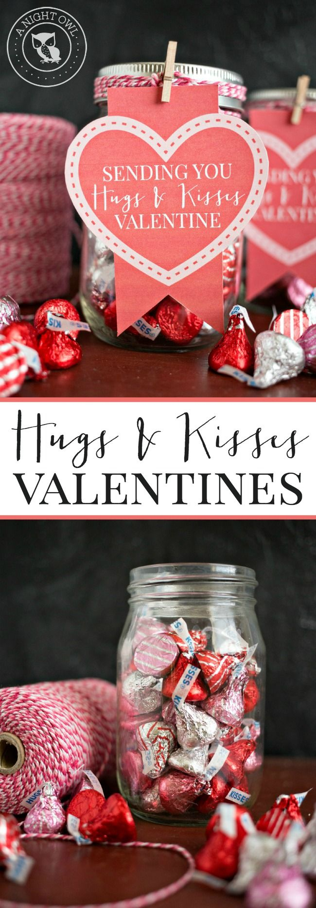 Hugs and Kisses Mason Jar Valentines - download the FREE printable and put together these adorable gifts in just minutes!