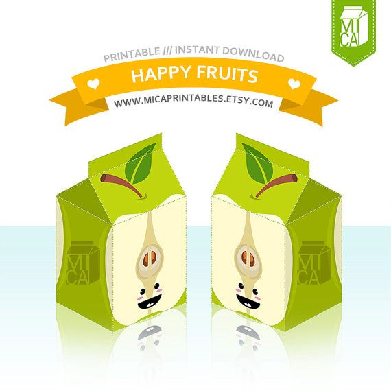 Happy Fruits Printable Party Favor Treat Gift by MicaPrintables #green #apple #favorbox #milkcarton