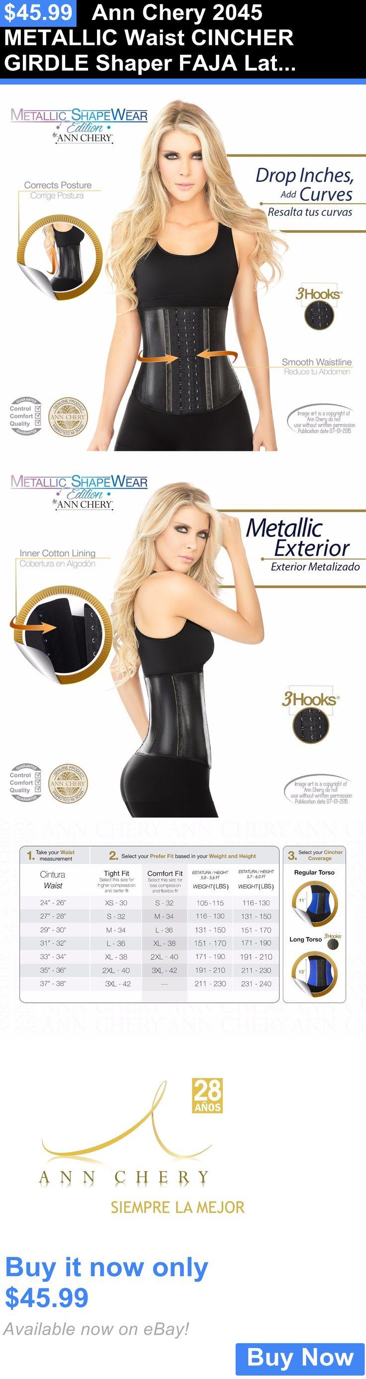 Women Shapewear: Ann Chery 2045 Metallic Waist Cincher Girdle Shaper Faja Latex Black 3 Hooks New BUY IT NOW ONLY: $45.99