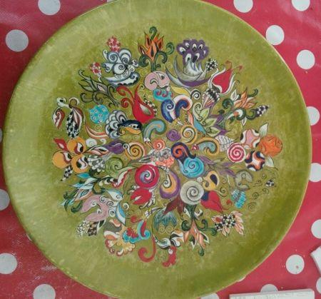 El boyaması seramik tabak | Çiçek bahçesi