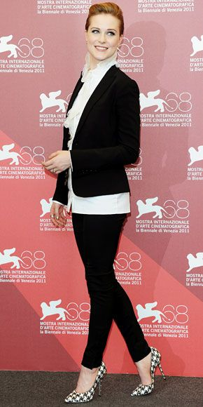 "Evan Rachel Wood in Dolce & Gabbana suit and Salvatore Ferragamo houndstooth pumps at ""The Ides Of March"" Venice Film Festival Photocall, August 2011"