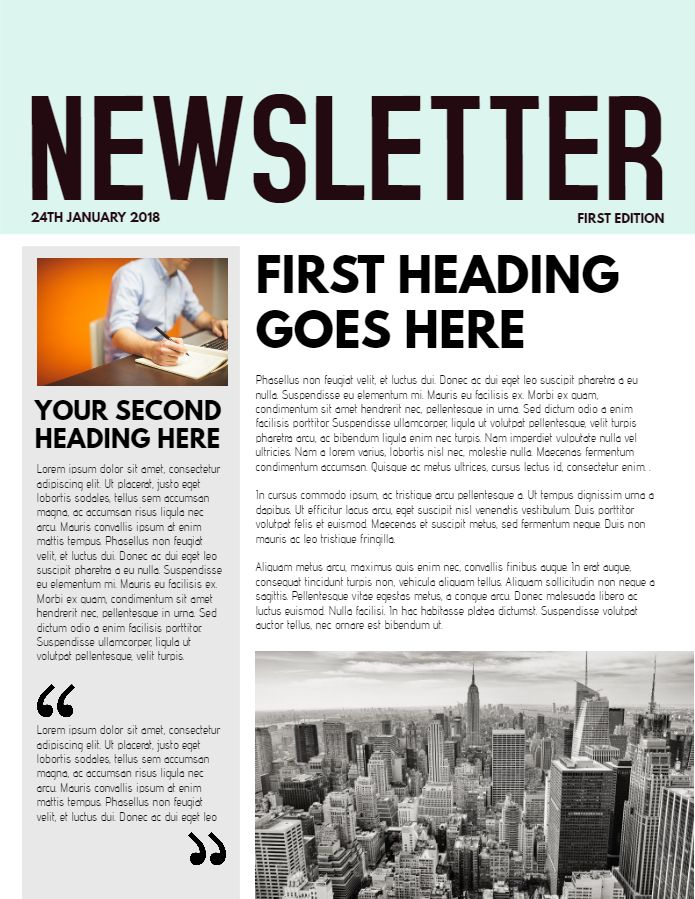 Newsletter sample in cyan. Click to customize.
