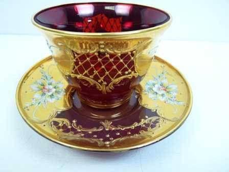 Murano Glass Tea Cup and Saucer- 24kt
