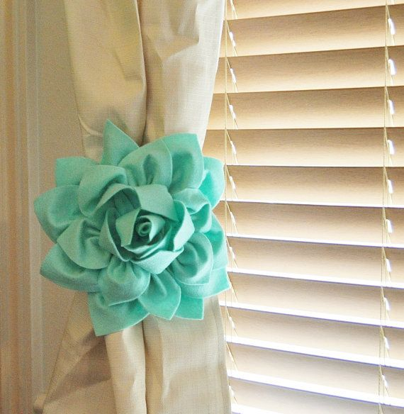 TWO Dahlia Flower Curtain Tie Backs Curtain Tiebacks Curtain Holdback -Drapery Tieback-Baby Nursery Decor- Mint Green Decor