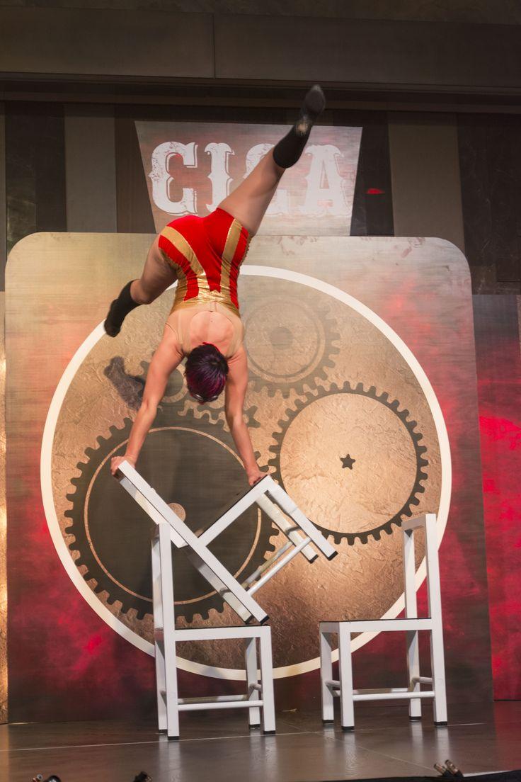 Steampunk Circus Gala Dinner - Chair balancing act.