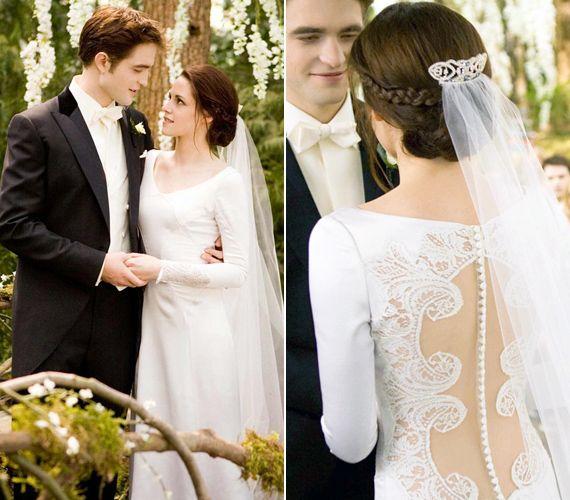 Kirsten Stewart az Alkonyat - Hajnalhasadásban egy elöl visszafogott, de hátul csipkével díszített ruhát viselt, melyet Carolina Herrera tervezett.