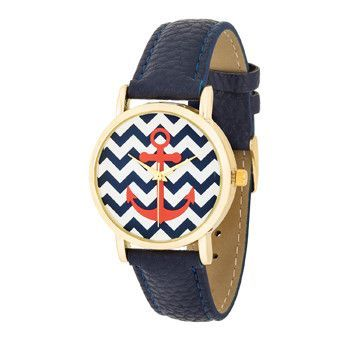 *Navy Nautical Leather Band Women's Watch