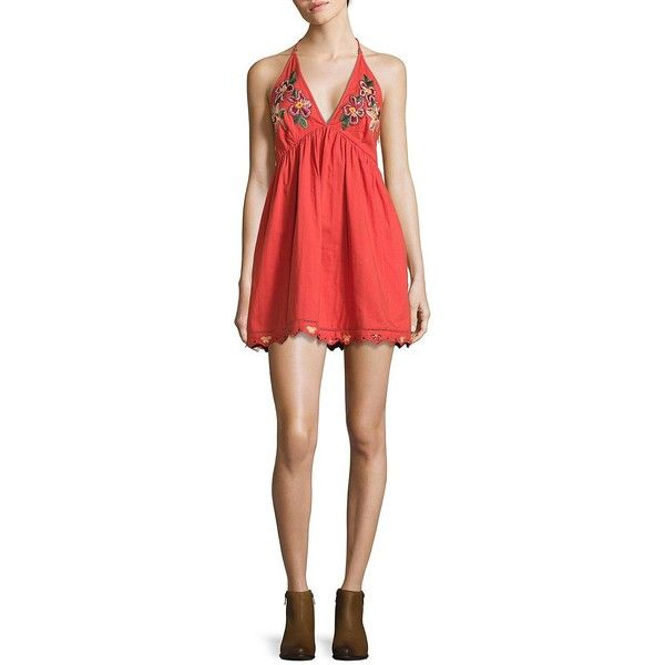 Free People Love and Flower T-Back Dress ($128) ❤ liked on Polyvore featuring dresses, coral, plunging v neck dress, red sleeveless dress, v neck dress, red scalloped dress and plunge-neck dresses