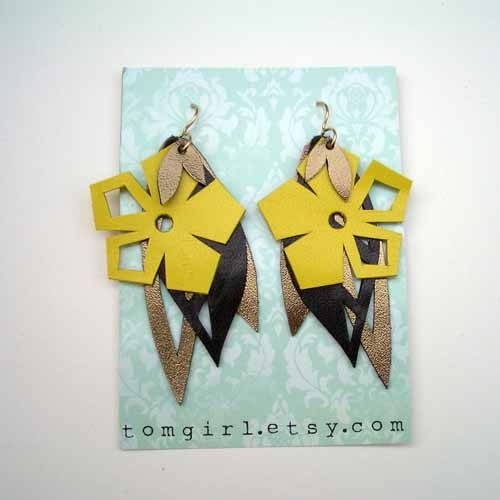 Yellow, Bronze and Black Leather Earrings tomgirl $48 #jewelry