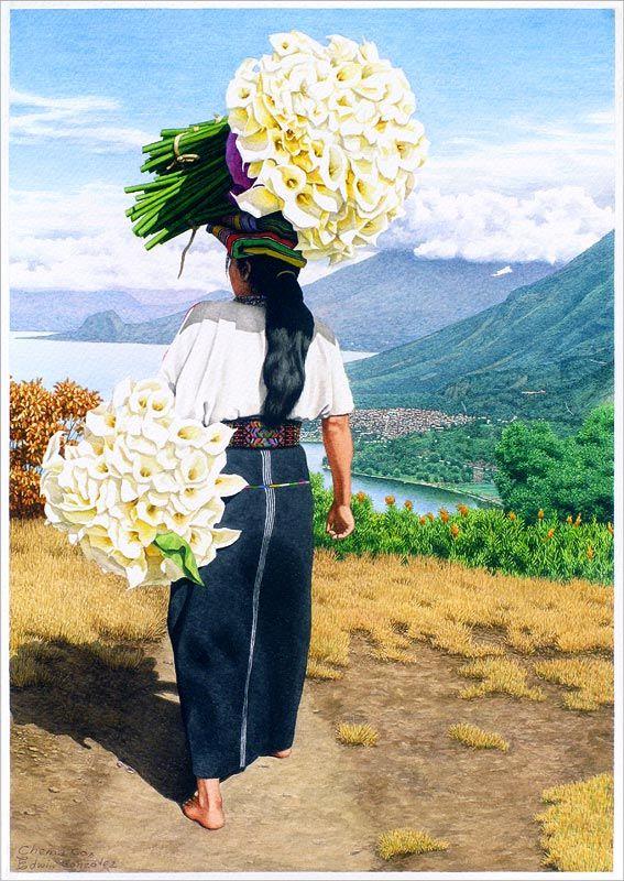 Princesa tz'utujil con sus flores