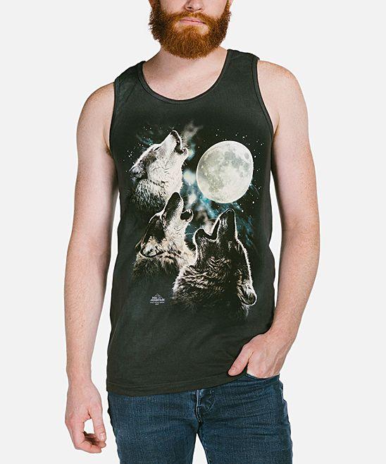 Black Three Wolf Moon Tank - Men's Regular