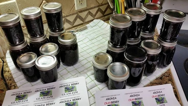 ARONIA BERRY JAMS Two different batches of jam, made from Aronia Berries. LEFT. Aronia GLAM Jam (Ginger-Lime-Aronia-Maple syrup) RIGHT. Aronia cranBerry Jam (Aronia Berries-Cranberry juice)