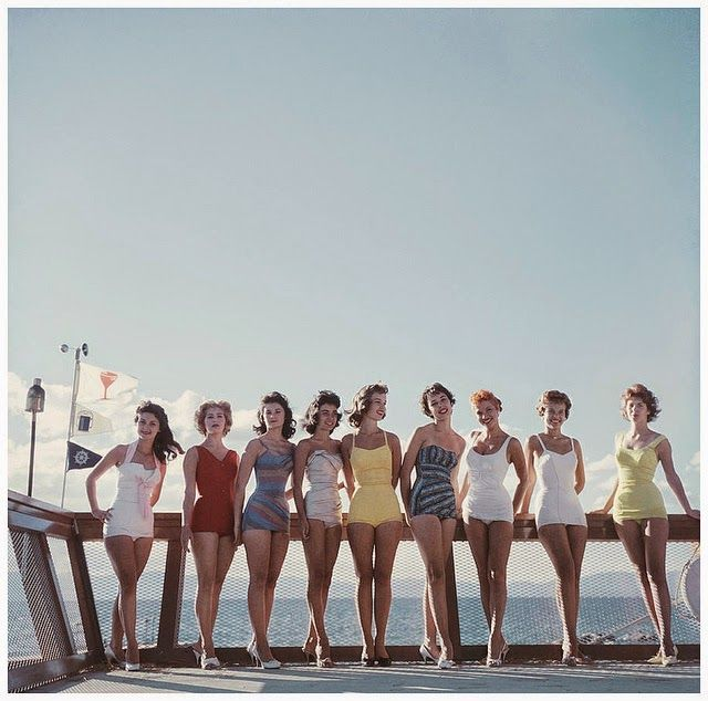 vintage everyday: Beautiful Color Fashion Shots of Women's Bathing Suits in the 1950s