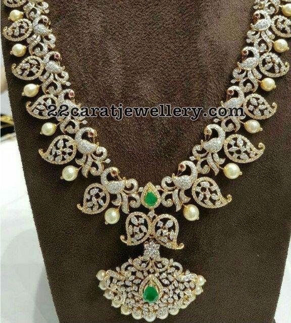 Trendy Diamond Peacock Mango Mala - Jewellery Designs