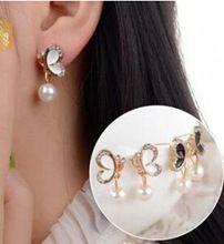 2016 новинка brincos горячей CZ серьги с бриллиантами двойной жемчужные серьги милые серьги с бантом для женщины букле d'oreille M239(China (Mainland))