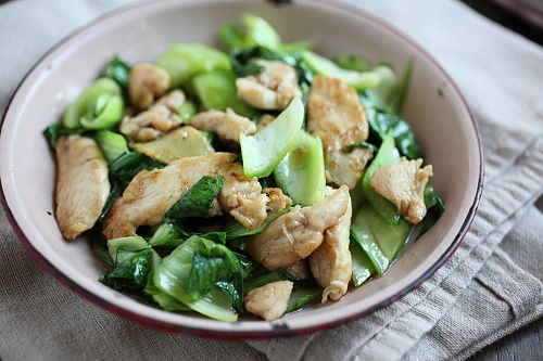 Bok Choy Chicken (chicken breast, bok choy, ginger, soy sauce ...