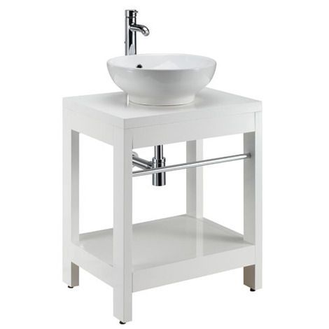 Tuoni floor standing unit with towel rail - white gloss
