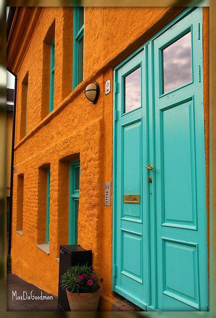 orange walls/aqua door