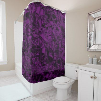 Aluminum Foil Design in Purple Shower Curtain - foil leaf gift idea special template