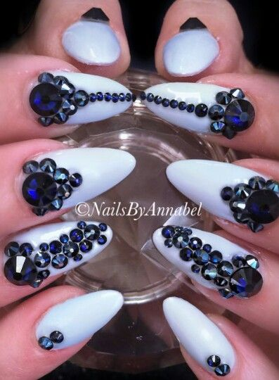 BLUE rhinestone nails design by @nails_by_annabel_m on IG