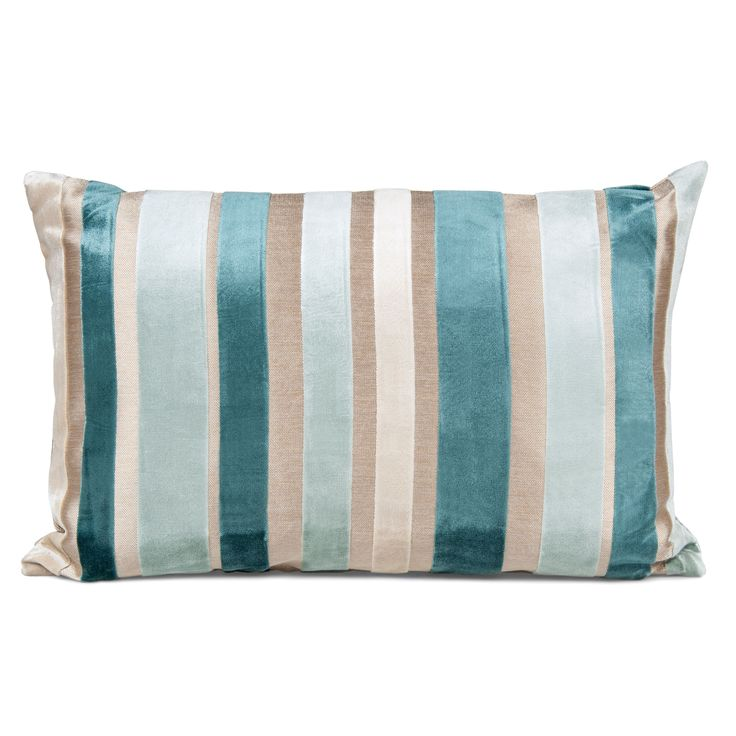 Callie Striped Duck Egg Cushion | Departments | DIY at B&Q